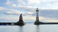 Harbour entrance of Lindau (akovt) Tags: bodensee bayern water viewpoint lindau lighthouse haven tower lion