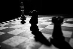 Pins and forks (JtDots.com) Tags: chess strategy figures bishop castle king queen square tactic game chessgame black white blackandwhite blackwhite bnw bw monochrome mono forking horse