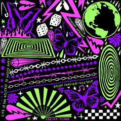 Spend Forever Together (leannaperry) Tags: leanna perry illustration design designer graphic art artist brooklyn new york ny goth emo butterflies patterns chains gothic trippy green pink purple abstract bold color surface cyber neon rgb