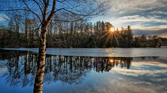 A cold morning, Norway (Vest der ute) Tags: xt2 norway haugesund water waterscape landscape lake winter reflections mirror tree trees sunrise sunstar sky clouds fav25 fav200
