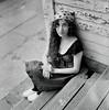 Jess 6 (neohypofilms) Tags: series portrait medium format 120 film hasselblad retro vintage style fashion shoes white wood clogs leggings hair wrap porch blackwhite bw classic 60s 70s