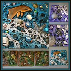 Custom Tile Collage No Name (MandarinMoon) Tags: polymerclay arttile wallart polymerclaytile dolphin ocean steampunk sea turtle