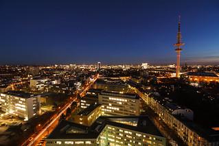 Hoch oben über Hamburg