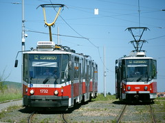 Brno trams Nos. 1732 and 1205 (johnzebedee) Tags: tram transport publictransport vehicle brno czechrepublic johnzebedee