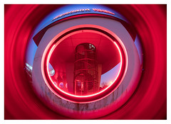 Spiral staircase to the Red Planet (leo.roos) Tags: brandtrap fireescape spiralstaircase stairs stairway trap westlandinfra circles cirkels rings red rood flare a7rii lensbabyfisheyeoptic1240 lensbabyscout amount darosa leoroos dayprime day12 dayprime2018 dyxum challenge prime primes lens lenses lenzen brandpuntsafstand focallength fl