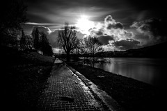 Moselle flood, skye & the burning wintersun (Black&Light Streetphotographie) Tags: mono monochrome urban trier tiefenschärfe wow water flus river moselvalley moselle dof sony streets landscape landschaft city fullframe vollformat natur nature