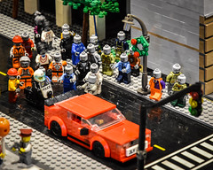 LEGO Walking Dead (tim.perdue) Tags: lego columbus museum art cma cmoa think outside brick exhibit gallery building toy minifig walking dead zombie horde police motorcycle car traffic light street attack road