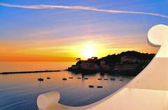 sestri sunset (poludziber1) Tags: street streetphotography skyline sky sea sunset colorful city cityscape color colorfull clouds blue yellow travel urban sestrilevante light liguria italia italy