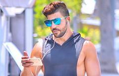 Man On Wheels (Alan46) Tags: hunk stud handsome sexy muscular masculine sweatshirt tanktop unshaved scruffy sunglasses hunky beefy buffed brawny ballsy bitchin built skateboard shorts man guy guapo macho telaviv israel