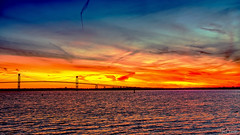Pell Bridge Sunset (Ian Charleton) Tags: sunset water bay ocean bridge pellbridge newportbridge claibournepellbridge architecture winter narragansettbay landscape seascape outdoors