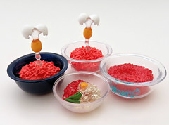 Random Bowls of Chopped Meat (MurderWithMirrors) Tags: rement miniature bowl meat choppedmeat egg rice seasoning hellokitty stitch mwm