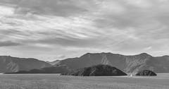 View from Karaka Point, Marlborough Sounds (russellstreet) Tags: newzealand cloud overcastcloud southisland bw karakapoint allportsisland picton marlboroughregion queencharlottesound blackandwhite