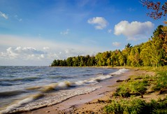 The Shores of Lake Michigan (T P Mann Photography) Tags: beach breeze wind windy waves shore sand trees rural autumn sun sunlit nature michigan breezeway atwood lake sea seascape sunset