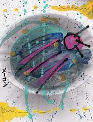 Sputnik Resplendent [1,001 Sobas with Senpai #731] (Marc-Anthony Macon) Tags: art dada dadaism dadaist dadaísmo outsiderart folkart rawart popart surrealism intuitiveart soba senpai japanesefood japanese noodles egg eggs