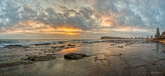 Flows with a sting (JustAddVignette) Tags: australia clouds cloudysunrise collaroy headland landscapes newsouthwales northernbeaches ocean panorama rocks seascape seawater sky sunrise sydney water waves