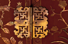 golden hinge (verona39) Tags: macromondays fasteners hinge antique chinese wedding chest red gold color