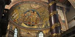 'Coronation of the Virgin' apse mosaic, Jacopo Torriti, 1295 - Santa Maria Maggiore, Rome.. (edk7) Tags: nikond300 sigma1224mm14556dghsmex edk7 2008 italy italia lazio rome roma basilicapapaledisantamariamaggiore sanctaemariaemaioris interior apse mosaic mosaico coronationofthevirgin incoronazionedellavergine jacopotorritifratefrancescano1295 church nave column architecture building oldstructure baldacchinocolumn organpipe windpipe organ arch window