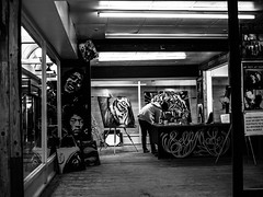 Painting Pictures (Barry Carr) Tags: streetphoto olympus blackandwhite street mono olympuspenf tayside penf scotland monochrome m43 streetphotography 25mmf18 bw dundee olympusm25mmf18