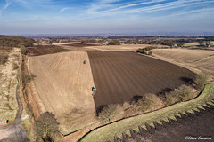 Down on the Farm, ploughing. (Steve Samosa Photography) Tags: dronecamera drone droneshot droneview aerialview aerial farming farmland farm tractor johndeere ploughing billinge england unitedkingdom gb