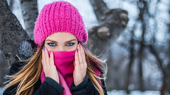 cold and blue (keriarpi) Tags: scarf warm clothing winter coat jacket snowing snow cold blue nice cute pretty beauty beautiful eyes face girl woman teen portrait hands cap brunette hair