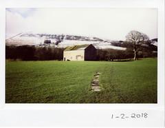 Thursday 1st February 2018 (ronet) Tags: fuji thursdaywalk barn edale instantfilm instax instax200wide peakdistrict scanned sheep england unitedkingdom utata:project=tw615