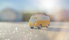 A Frosty Adventure... (KissThePixel) Tags: vw volkswagon campervan van camper nikon nikondf nikkor nikkor12 f12 sunlight light sunbeam morning frost frosty frostymornings stilllife stilllifephotography acampstory surf surfboard perspective depthoffield dof dofalicious yellow february cold macro bokeh 50mm