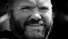 Norse warrior (Neil. Moralee) Tags: neilmoralee man face portrait norse warrior viking scandinavia descendents britons britain beard moustache eyes stare close black white blackandwhite mono whiteandblack bw bandw nikon neil moralee round hairy smile teeth devon teignmouth uk