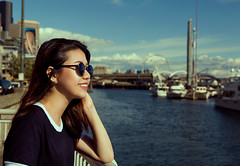 (Wendy Lu.) Tags: wendylu canon5d seattle space needle kerry park olympic sculpture osp skyline city nature ferris wheel sea ocean seaside asian female portrait girl woman sunglasses sunshine smiling cute sunset