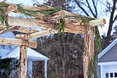 The Texture Of Christmas Past (Jo Zimny says: Happy Earth Day!) Tags: textures texture textured texturaltuesday theflickrlounge arbor wood blacklocust hard garland pine green frontyard house garage neighbour