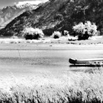 A Minimalist Look to a Setting Along Lake Chelan (Black & White, North Cascades National Park Service Complex) thumbnail
