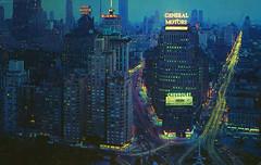 Columbus Circle (Thomas Hawk) Tags: america chevrolet columbuscircle generalmotors hotel manhattan nyc newyork newyorkcity parksheratonhotel usa unitedstates unitedstatesofamerica vintage architecture neon night postcard fav10 fav25