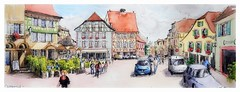 Ribeauville - Alsace - France (guymoll) Tags: googleearth france alsace ribeauvillé croquis sketch panoramique panoramic aquarelle watercolour watercolor