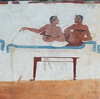 Symposium or Banquet scene: drinking men (petrus.agricola) Tags: fresco from tomb diver banquet scene symposium paestum archaeological museum