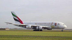 Airbus A380-842 c/n 239 Emirates registration A6-EUV (Erwin's photo's) Tags: airbus a380 a380842 cn 239 emirates registration a6euv amsterdam airport schiphol the netherlands holland aircraft