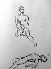Blue Book Project Sketch Page 60 (ETt_) Tags: nude poses portrait drawings sketchs test ink doodles art menlivedrawing