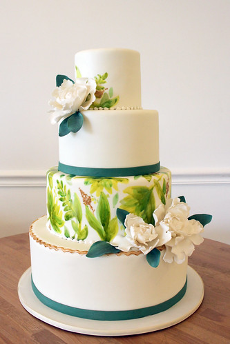 Garden Greenery Painted Wedding Cake