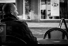 2018_033 (Chilanga Cement) Tags: fuji fujix100f bw blackandwhite monochrome candid man smoking smoke smoker cafe coffee