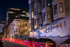 hyde and jackson street cable car line (pbo31) Tags: bayarea california nikon d810 color february 2018 winter boury pbo31 sanfrancisco city urban night dark black lightstream traffic motion roadway nobhill washingtonstreet leavenworthstreet