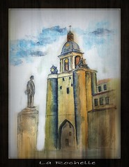La Rochelle (patrick.verstappen) Tags: fatherpio pilgrimage larochelle france peinture painting art watercolor wn paper winter nikon d7100 architecture patrickverstappen padrepio normandy aquarelle inkt waterbrush stature clock time gate