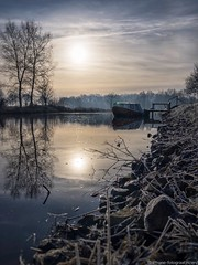 Winter morning (iPhone Fotograaf) Tags: landscape water sun iphone8plus groningen dutch morning reflection