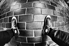 On top of the world (kceuppens) Tags: top world floor tiles vloer shoes shoe schoen schoenen sneakers sneaker nikond7000 niokn nikon d7000 fisheye antwerpen antwerp legs been leg benen voeten voet foot feet nikkor10528 nikkor 105