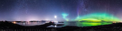 Atlantic road aurora panoramic view (Pamaxteam) Tags: atlanticroad aurora auroraborealis beautiful panorama panoramic kaim photography travel best bestofnorway norway norge atlanterhavsvegen stars nightsky starrynight bridge bestof cosmos colorfull milkyway moonlight