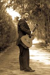 Sepia Guitarist (stelios_ioannides) Tags: guitarist guitar woods sepia alley trees people classicalguitar