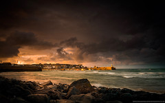 Harbour Glow (Richard Walker Photography) Tags: jetty coast boats harbour landscape sunset nature cornwall clouds stives storm longexposure lighthouse sea