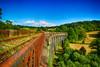 Chemin de fer Correzien (GerardMarsol) Tags: france corrèze cantal rails chemindefer ciel couleurs chaleur arbres pont aqueduc