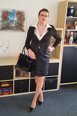 Business Woman (Rikky_Satin) Tags: silk satin blouse leather pencil skirt suit pumps highheels crossdressing crossdresser transvestite transgender transformation transformed feminization m2f mtf sissy secretary business office fashion attire