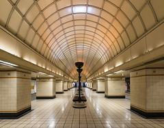 Gants Hill (sarah_presh) Tags: london underground tube metro city urban gantshill north centralline artdeco nikond750 nikon1635mm lit architecture oldfashioned decor interior inside ilford station subway tiled