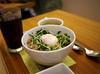 Minced Chicken Rice with Half-boiled Egg (Long Sleeper) Tags: food lunch cafe nanasgreentea rice donburi meat chicken mincedchicken egg halfboiledegg vegetable veggies bowl hachioji tokyo japan dmcgf1