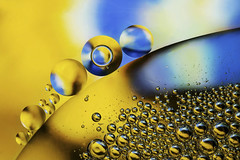 Macro Monday - Oil and Water 3 (NYRBlue94) Tags: oil water bubble round circle mix abstract closeup yellow blue contrast mixture bubbles macromondays lessthananinch