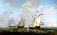 The yacht of the Chamber of Rotterdam for the Dutch East India Company salutes an East-Indiaman (Historystack) Tags: politics historyofnetherlands dutcheastindiacompany economics trade historyofindonesia earth europe modernhistory 18thcentury year1799 solarsystem 1790s milkyway batavianrepublic